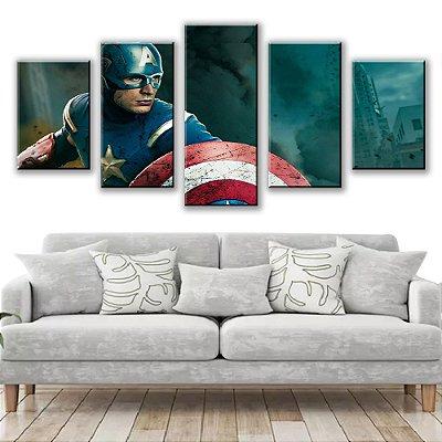 Quadro Decorativo Capitão America 5 Partes 115x50cm