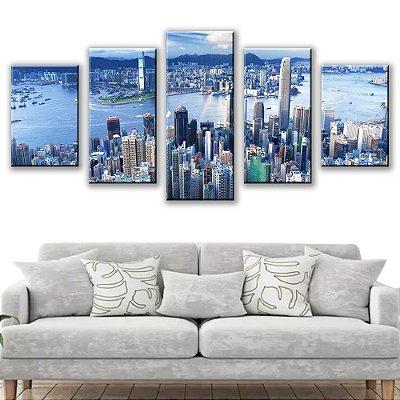 Quadro Decorativo Metropolis Hongkong 5 Partes 115x50cm