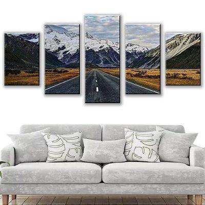 Quadro Decorativo Estrada Montanhas 5 Partes 115x50cm