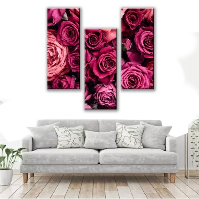 Quadro Decorativo Rosa Old 3 Partes 65x62cm
