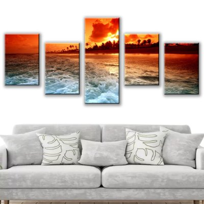 Quadro Decorativo Praia Tropical 5 Partes 113x50cm