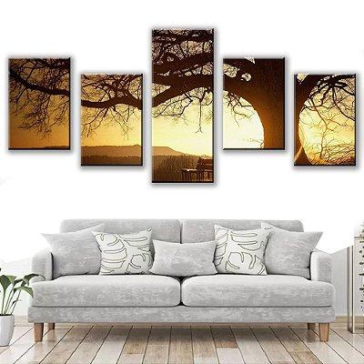 Quadro Decorativo Arvore Natureza 5 Partes 113x50cm