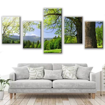 Quadro Decorativo Floresta Natureza 5 Partes 113x50cm