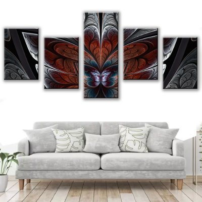 Quadro Decorativo Vitral Black 5 Partes 113x50cm