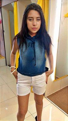 Blusa Jeanseria Fitness com Touca Jeans