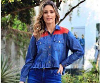 Camisa Feminina Jeanseria com Renda Jeans
