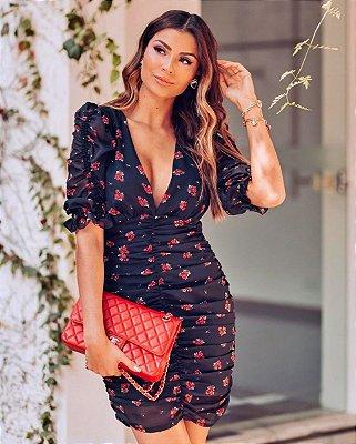 Vestido curto franzido Rosas