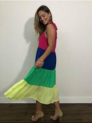 Vestido Midi Color Amarração nas Alças 1