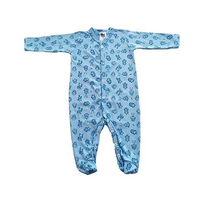 Macacão Longo Suedine - Robo Azul Bebê