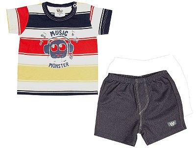 Camiseta Meia Malha Listrada com Shorts
