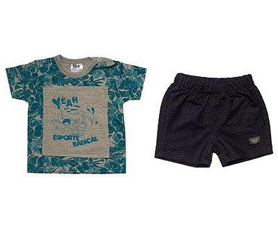 Camiseta Masculina Meia Malha c/ Shorts Jeans