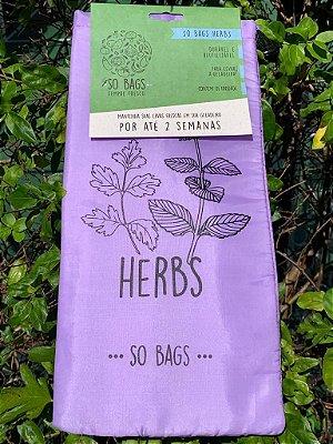 Saco Para Guardar Ervas na Geladeira - So Bags Herbs