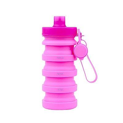 Garrafa Squeeze Retrátil de Silicone 400 ml - Rosa
