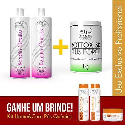 Escova Progressiva Profissional + Botox Capilar Plus Force + Brinde Pós Química