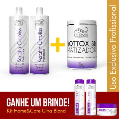 Escova Progressiva Matizadora + Botox Capilar para Cabelos loiros + Brinde Ultra Blond