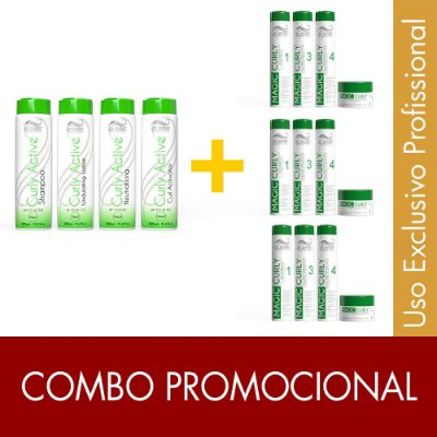 Desprogressiva Curly Active + 3 Kits para cabelos cacheados Magic Curly