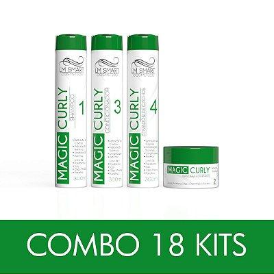Combo 18 Kits de Produtos para Cabelos Cacheados Home&Care Magic Curly Shampoo + Máscara + Condicionador + Ativador de Cachos