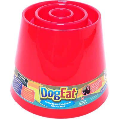 DogEat - Comedouro Funcional Alto e Lento (Vermelho)