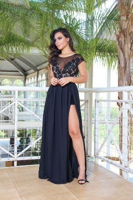 VESTIDO LONGO COM FENDA DUPLA NIGHT