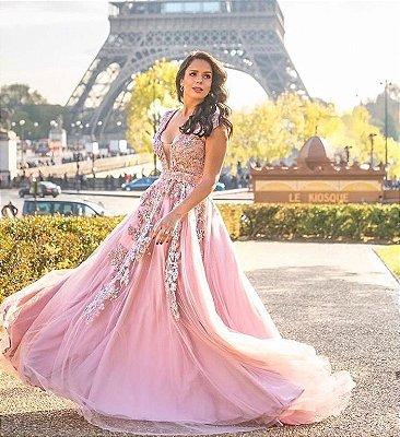 Vestido Rosê Champs-Élysées