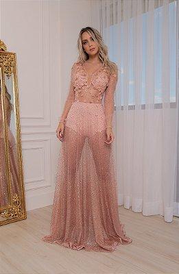 Vestido Glitter Rose Gold Tour Eiffel