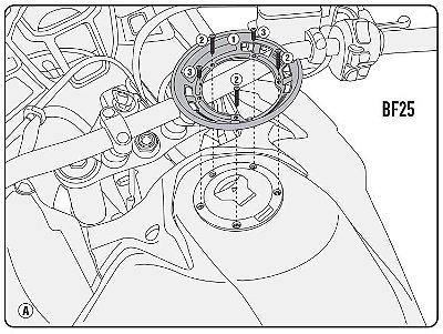 Flange de encaixe e fixação de Bolsas Givi TankLock - para Honda Africa Twin