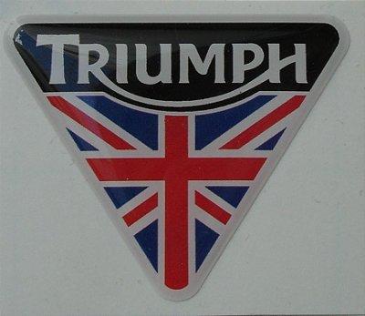 Emblema Adesivo Resinado Triumph - TRIANGULAR c/ BANDEIRA