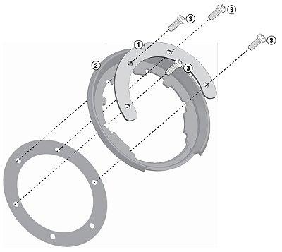 Flange de encaixe e fixação de Bolsas Givi TankLock - para BMW R1200 GS (LC)