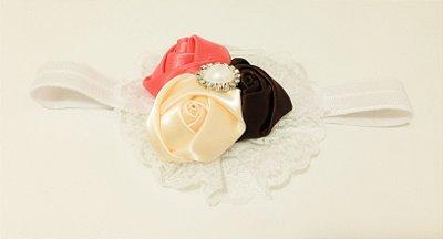 Faixa de Cabelo Floral com Pérola branca