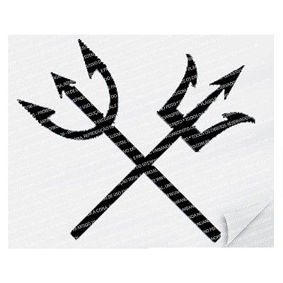 Adesivo Tridente Exu & Pomba-Gira (Preto)