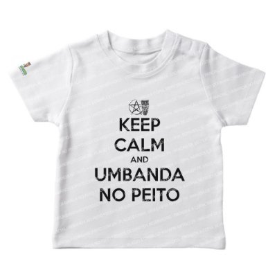 Camiseta Infantil Keep Calm and Umbanda No Peito