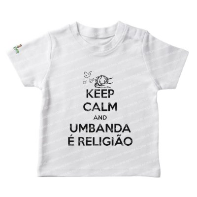 Camiseta Infantil Keep Calm and Umbanda é Religião