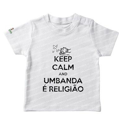 Camiseta Infantil Keep Calm and Umbanda é Religião