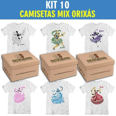 Kit com 10 Camisetas Mix Orixás