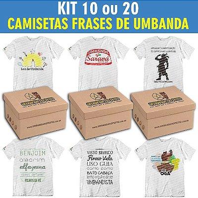 Kit Camisetas Frases de Umbanda (10 ou 20 Peças)