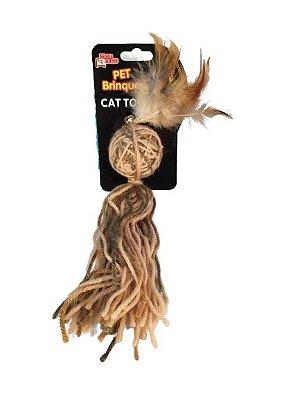 Brinquedo para gato Novelo com Penas