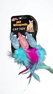 Brinquedo para gato Ratinho com penas kit com 3