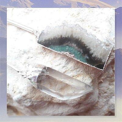 Brinco Cristais Especiais Únicos - Ametista e Ponta de Cristal