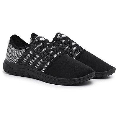 Tênis Caminhada Confortável Colors Preto e Branco 15008