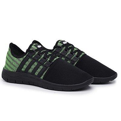 Tênis Caminhada Confortável Colors Preto e Verde 15008