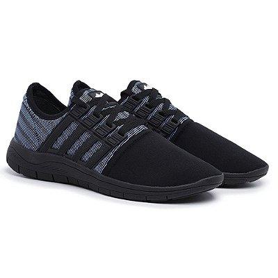 Tênis Caminhada Confortável Colors Preto e Azul 15008