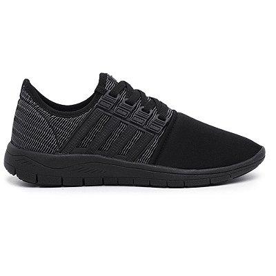 Tênis Caminhada Confortável Colors All Black 15008