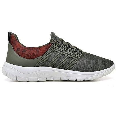 Tênis Caminhada Confortável Vermelho/Verde 15003