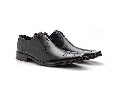 Sapato Social Masculino Brogue Couro Cromo Preto 659