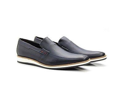 Sapato Casual Oxford Masculino Couro Marinho 525