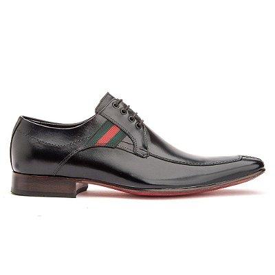 Sapato Social Derby Couro Cromo Preto 309