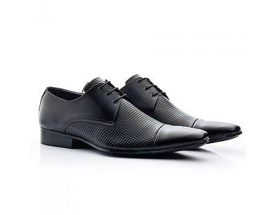 Sapato Social Masculino Bigioni Couro Estampa Preto 307
