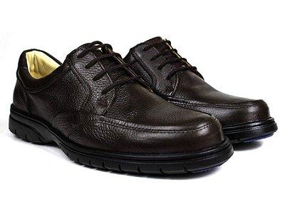 Sapato Casual Conforto Couro Floater Marrom 3050