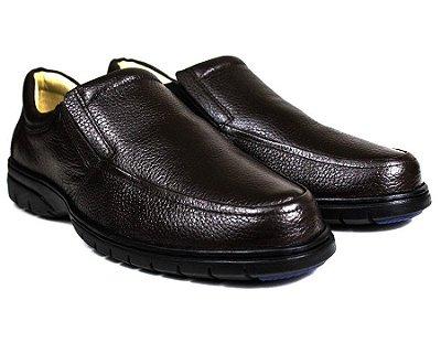 Sapato Casual Conforto Couro Floater Marrom 3040
