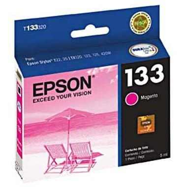 Cartucho de Tinta Original Epson T133320-BR / T133 Magenta, uso nas Epson T25 / TX123 / TX125 / TX133 / TX135 / TX235W / TX320F / TX420W / TX430W. Rendimento até 305 páginas. Cartucho Original com excelente qualidade.